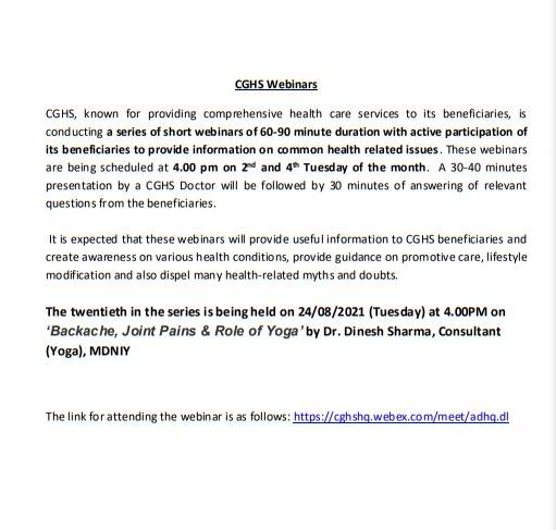 CGHS Webinar on Backache, Joint Pains & Role of Yoga