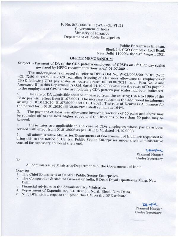 Dearness Allowance @ 189% wef 01.07.2021 to the CDA pattern employees of CPSEs on 6th CPC pay scales