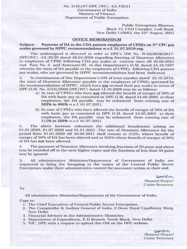 Dearness Allowance w.e.f 01.07.2021 to the CDA pattern employees of CPSEs on 5th CPC pay scales