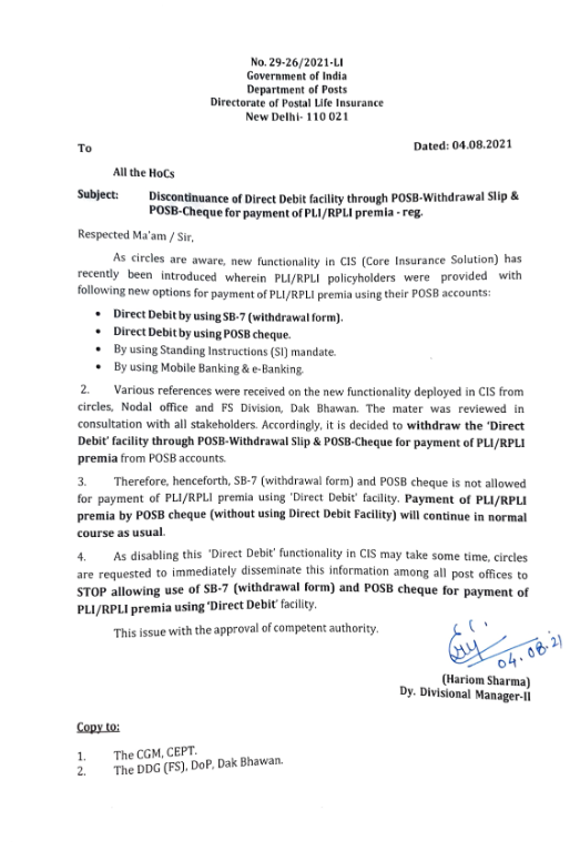 DoP: Discontinuance of Direct Debit facility for payment of PLI/RPLI premia through POSB-Withdrawal Slip & POSB-Cheque