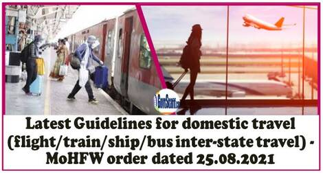 Latest Guidelines for domestic travel (flight/train/ship/bus inter-state travel) – MoHFW order dated 25.08.2021