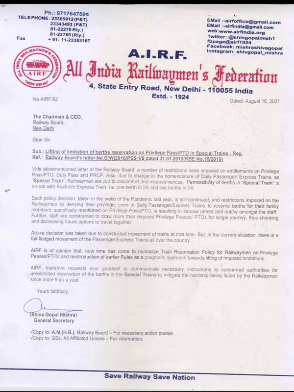 Lifting of limitation of berths reservation on Privilege Pass/PTO in Special Trains – AIRF writes to Railway Board