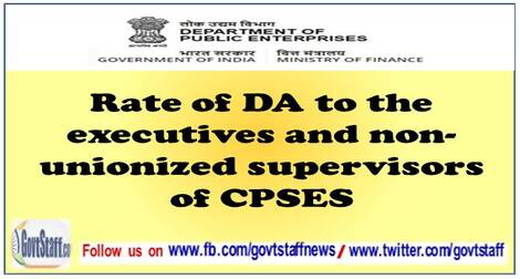 Payment of DA to Board level/below Board level executives and non unionized supervisors following IDA scales of pay in CPSEs on 1987 and 1992 basis