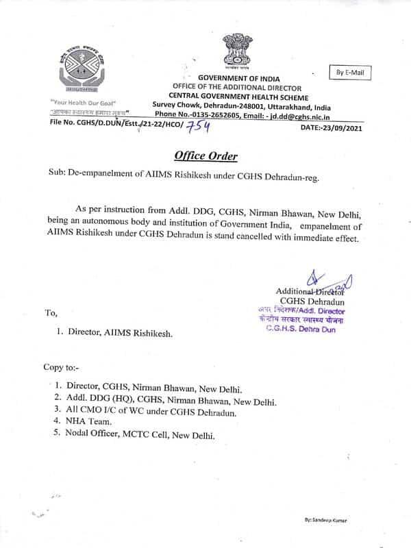 De-empanelment of AIIMS Rishikesh under CGHS Dehradun