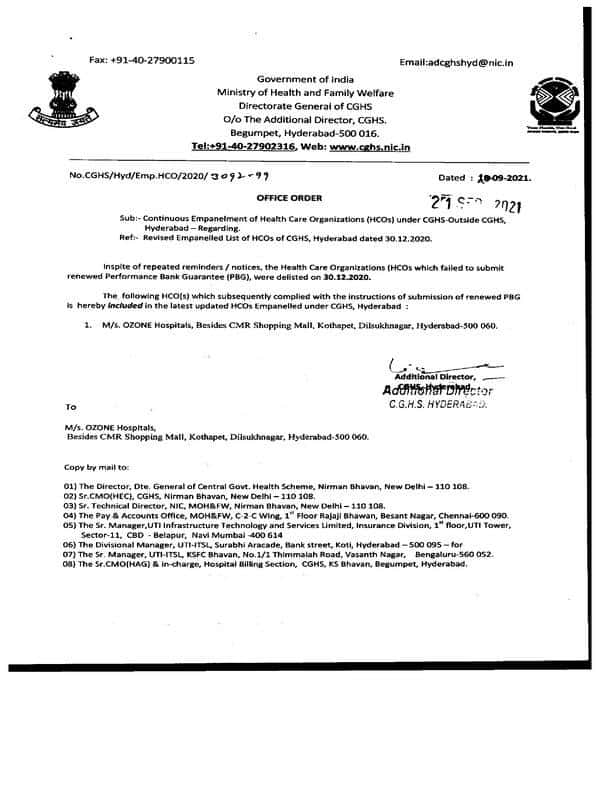 M/s. OZONE Hospitals, Hyderabad – Re-empanelled under CGHS Hyderabad