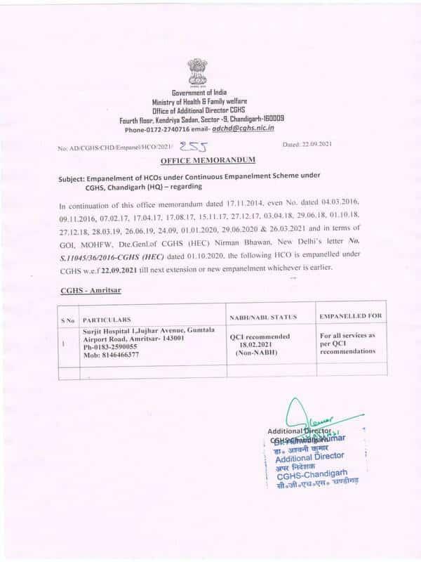 Surjit Hospital 1, Jujhar Avenue, Amritsar – Empanelled under CGHS Chandigarh w.e.f. 22.09.2021