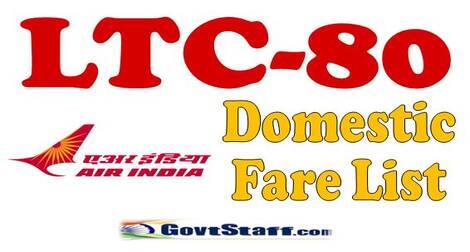 Air India LTC Domestic Fare list – Fares for the period w.i.e. till 31st July 2022
