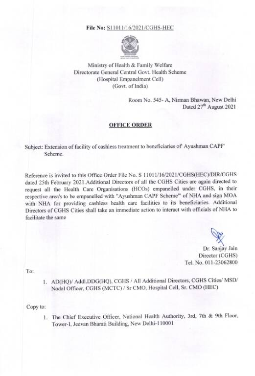 Cashless Treatment to beneficiaries of Ayushman CAPF Scheme – Extension of facilities reg