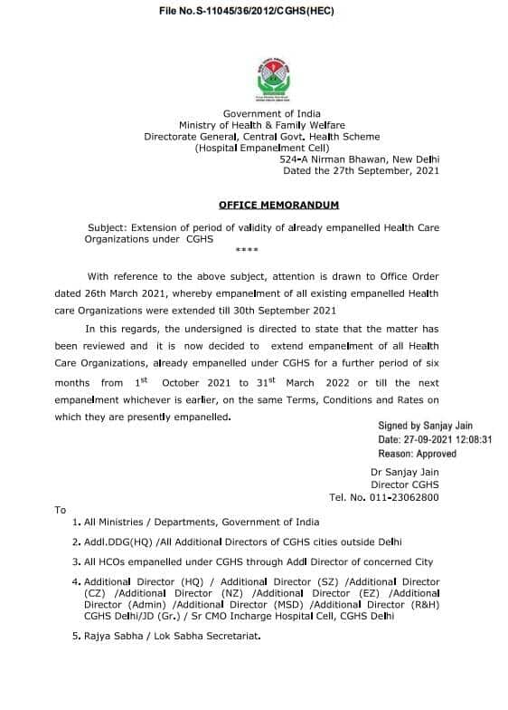 Extension of validity of already empanelled Health Care Organizations under CGHS till 31st March 2022 – CGHS O.M dated 27.09.2021