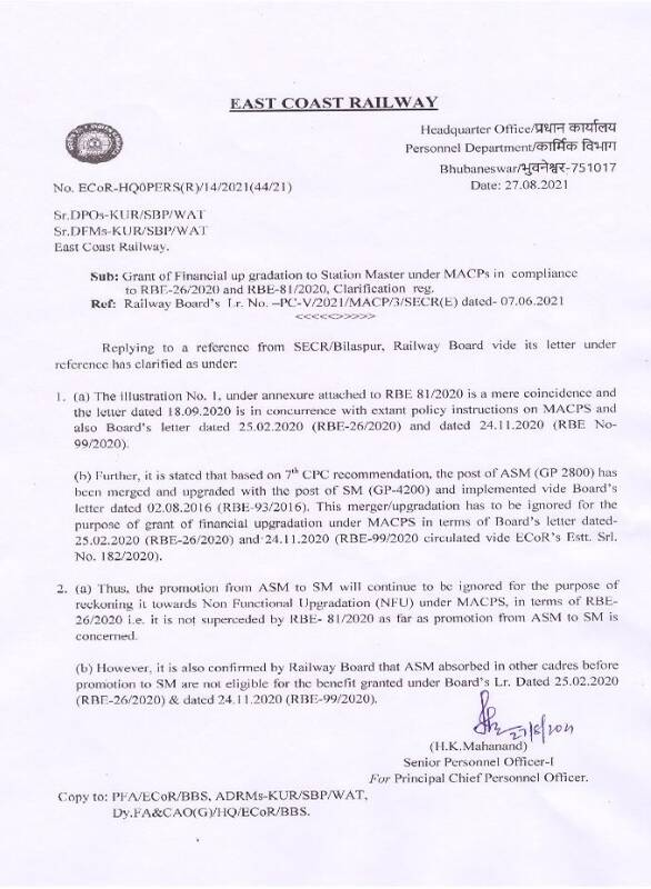 Grant of Financial up gradation to Station Master under MACPs in compliance to RBE-26/2020 and RBE-81/2020, Clarification