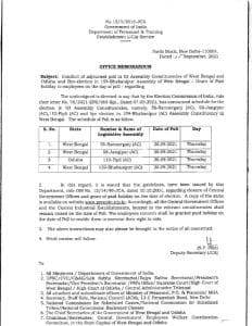 grant-of-paid-holiday-to-employees-on-the-day-of-poll-in-assembly-constituencies-of-west-bengal-and-odisha-dopt-om-dated-20-09-2021