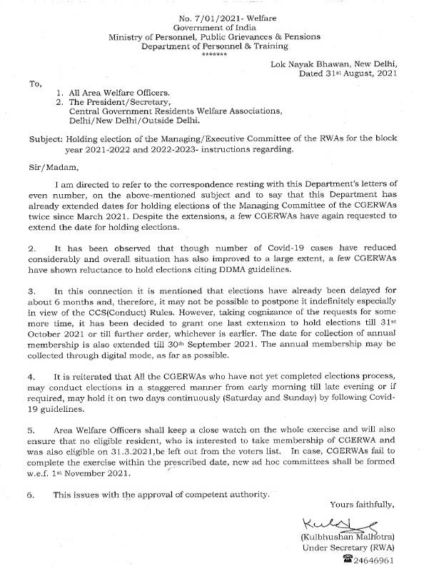 Holding election of the Managing/Executive Committee of the RWAs for the block year 2021-2022 and 2022-2023 – DoPT Instruction