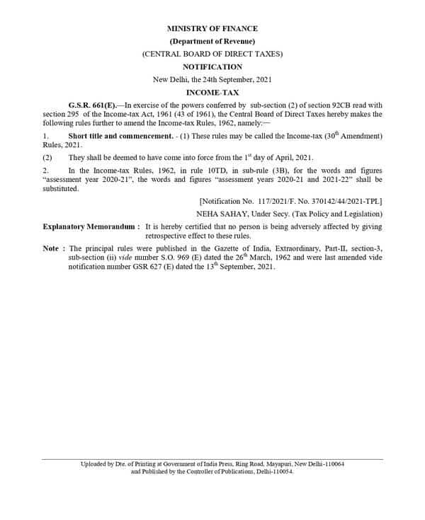 Income Tax (30th Amendment) Rules 2021 – CBDT Notification dated 24-09-2021