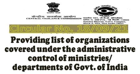 Providing list of organizations covered under the administrative control of ministries/ departments of Govt. of India: CVC Circular No. 18/09/21