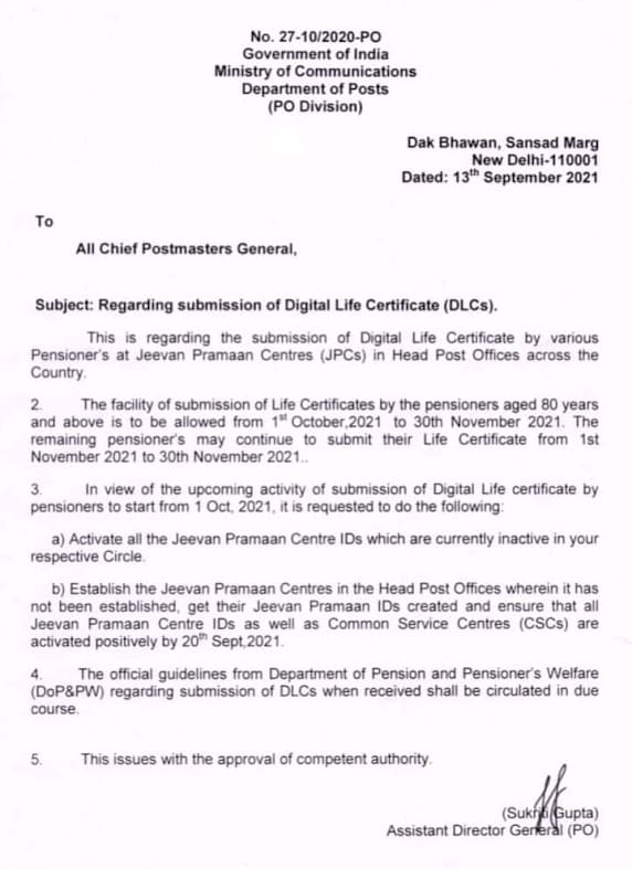 Submission of Digital Life Certificate (DLC) – Department of Posts order