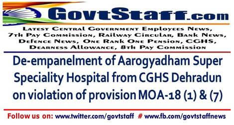 De-empanelment of Aarogyadham Super Speciality Hospital from CGHS Dehradun on violation of provision MOA-18 (1) & (7) – CGHS order dated 08/10/2021