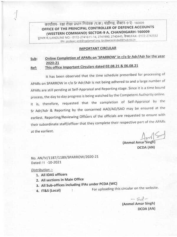 Early completion of APARs on 'SPARROW' in r/o Sr. Adr/Adr for the year 2020-21 reg – PCDA(WC) Important Circular