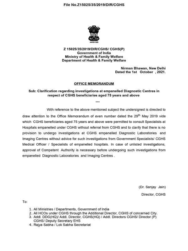 No provision to undergo investigations at CGHS empanelled Diagnostic Laboratories and Imaging Centres without advice from Government Specialists/ CGHS Medical Officer / Specialists of empanelled hospitals – Clarification by CGHS