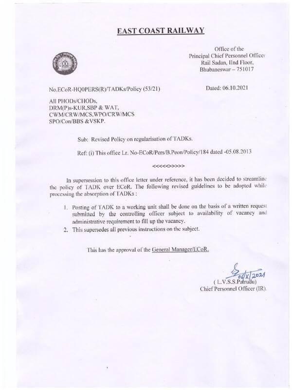 Revised Policy on regularisation of TADKs – E.C. Railway