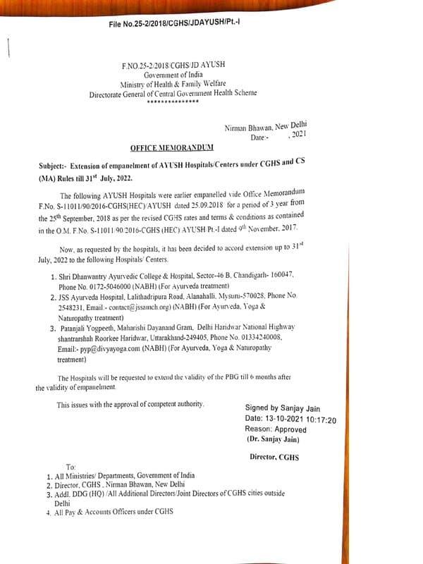 Shri Dhanwantry Ayurvedic C&H Chandigarh, JSS Ayurveda Hospital Mysuru and Patanjali Yogpeeth Haridwar: Empanelment extended upto 31st July, 2022