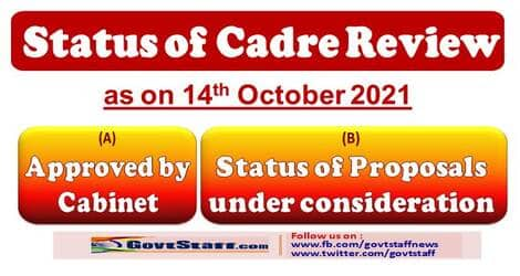 Status of Cadre Review proposals approved by Cabinet and under consideration in Cadre Review Division of DoPT as on 14th October 2021
